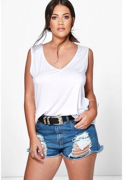 White Plus  V Neck Vest