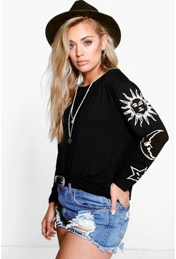 Zwart black Plus Oversized Zon En Maan T-Shirt