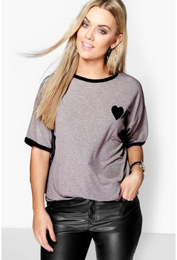 Grey Plus  Tipped T-Shirt With Heart