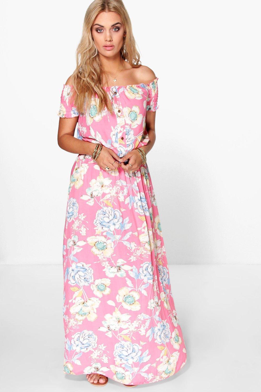 Plus Floral Off The Shoulder Maxi Dress 7
