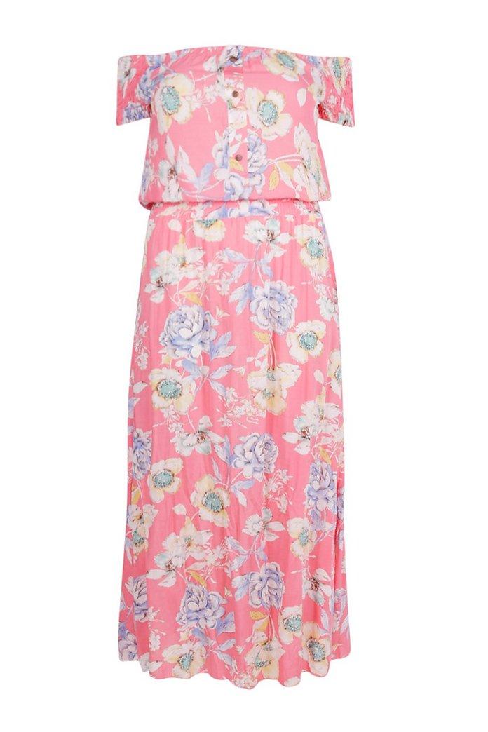 Plus Blommig maxiklänning med bara axlar | boohoo SE