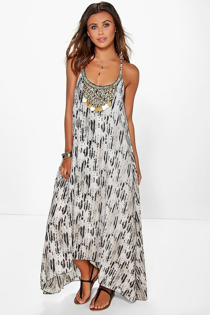 Petite Robe Perlee Imprime Serpent A Ourlet Roulotte Boohoo