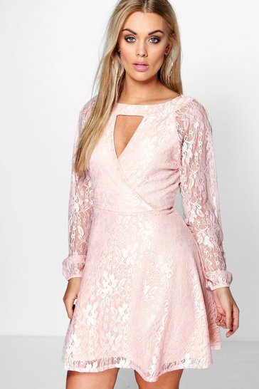 Blush pink Plus  Lace Skater Dress