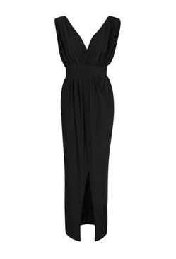 Black Petite  Plunge Drape Maxi Dress