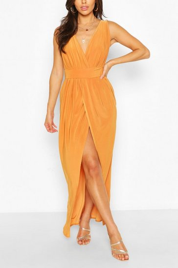 Mustard yellow Petite  Plunge Drape Maxi Dress