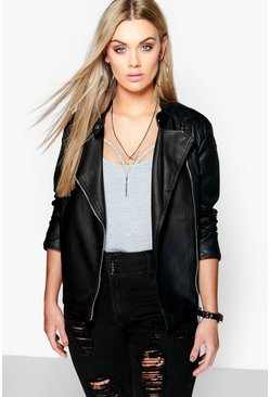 Black Plus  Quilted Faux Leather Biker Jacket