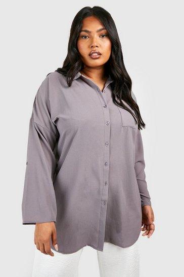 Grey Plus  Oversized Shirt