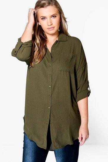 Khaki Green Plus  Oversized Shirt