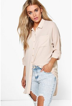 Stone beige Plus  Oversized Shirt
