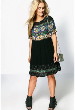 Black Plus Retro Print Smock Dress