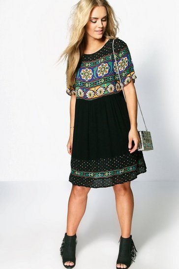 Black Plus Retro Print Smock Dress