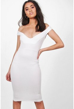Ivory white Petite  Off The Shoulder Dress