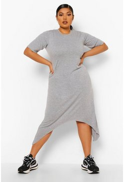 Grey Plus Hanky Hem Swing Dress