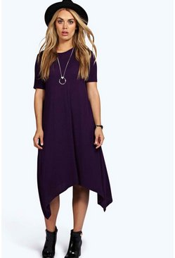 Plum purple Plus Hanky Hem Swing Dress