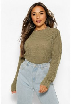 Green Petite  Oversized Jumper