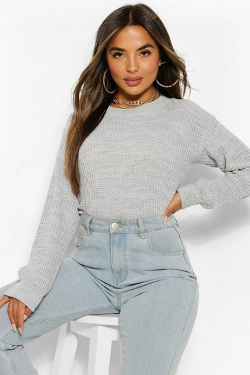 Grey Petite  Oversized Jumper