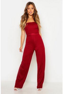 Berry red Petite  Bandeau Wide Leg Jumpsuit