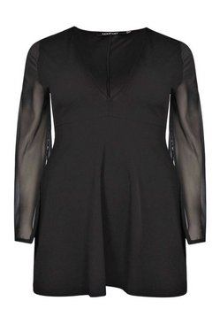 Black Plus  Chiffon Split Sleeve V Neck Dress