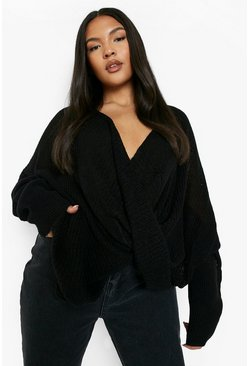 Black Plus Wrap Front Knitted Sweater