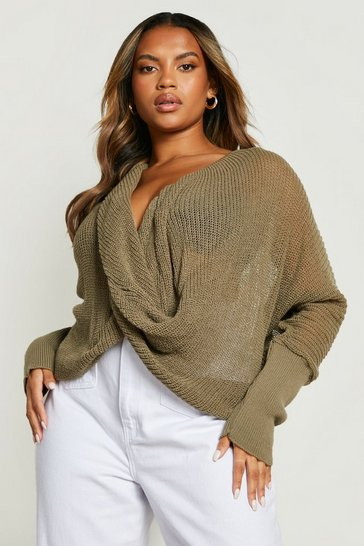 Khaki Plus Wrap Front Knitted Jumper