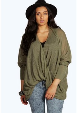 Khaki Plus Wrap Front Knitted Sweater