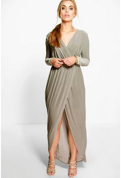 Khaki Plus  Slinky Wrap Front Maxi Dress