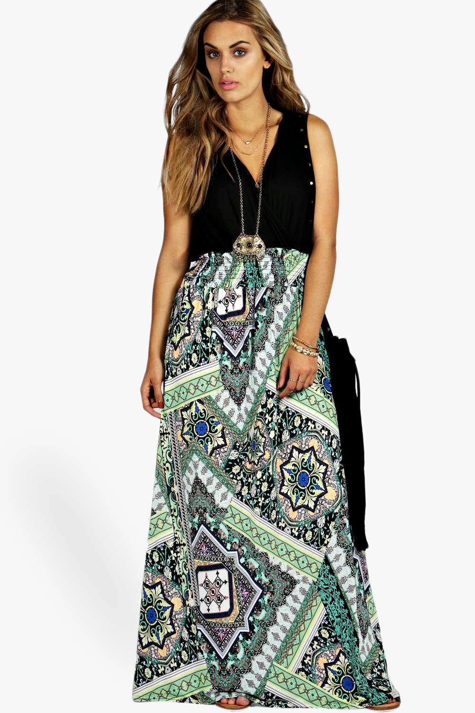 Plus Paisley Print Contrast Maxi Dress 6