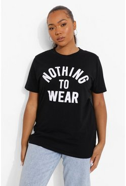 Black Plus Nothing To Wear Slogan T-Shirt