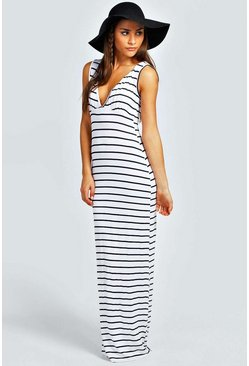 Ivory white Petite  Plunge Striped Jersey Maxi Dress