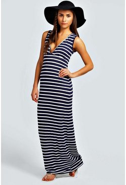 Navy Petite  Plunge Striped Jersey Maxi Dress