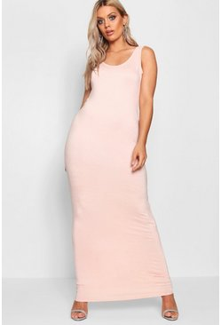 Blush pink Plus  Scoop Neck Maxi Dress