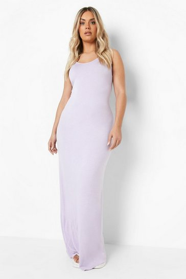 Lilac purple Plus  Scoop Neck Maxi Dress