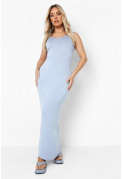 Sky blue Plus  Scoop Neck Maxi Dress