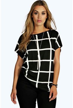 Multi Plus Grid Print Oversize T-Shirt