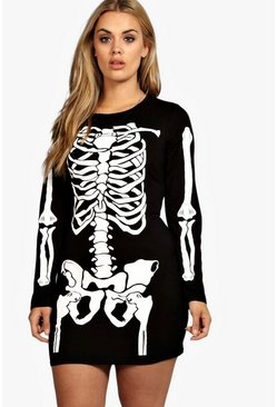 Black Plus Skeleton Halloween Bodycon Dress