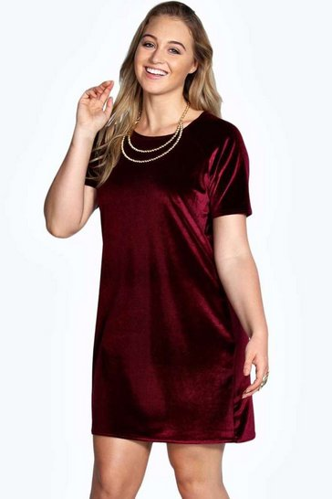 Berry red Plus Julia Velvet Shift Dress
