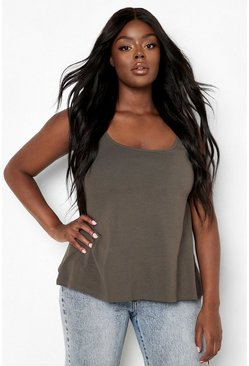 Khaki Plus Swing Cami Tank Top