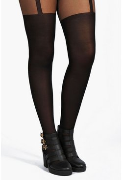 Black Plus  Mock Suspender Tights