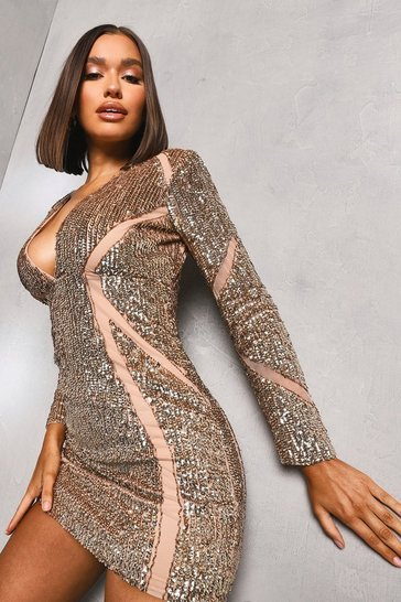 Champagne beige Premium Sequin And Mesh Bodycon Dress