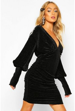 Black Premium Pleated Velvet Drape Sleeve Bodycon Dress