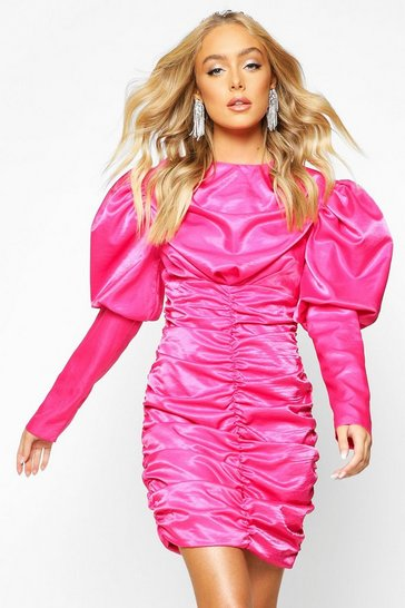 Hot pink pink Premium Puff Sleeve Ruched Fitted Dress