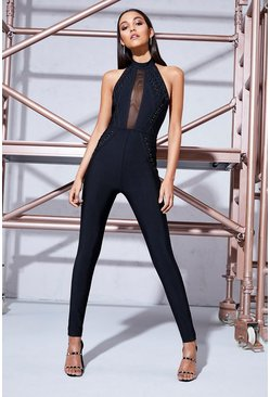 Black Premium Ava Halter Lace Up Skinny Leg Jumpsuit