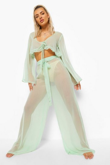 Mint green Chiffon Beach Trouser With Tie Detail