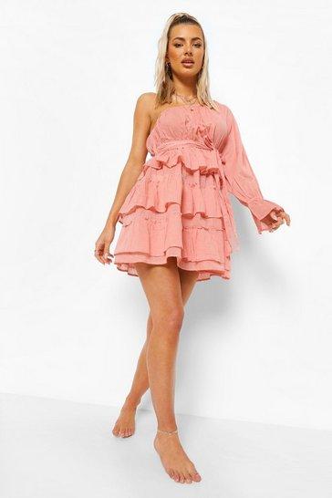 Rose pink Linen Look Asymmetric Beach Dress