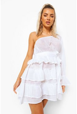 White Linen Look Asymmetric Beach Dress