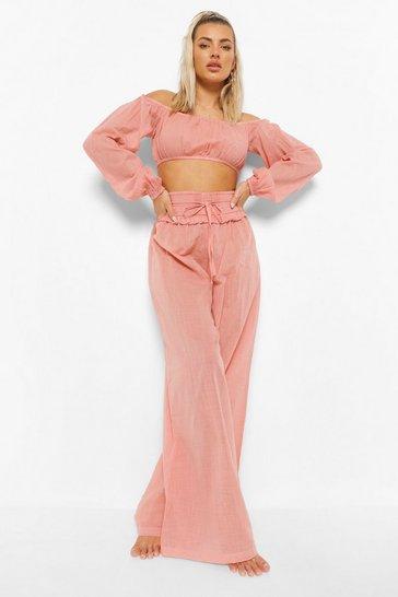 Rose pink Linen Look Frill Waist Beach Trouser