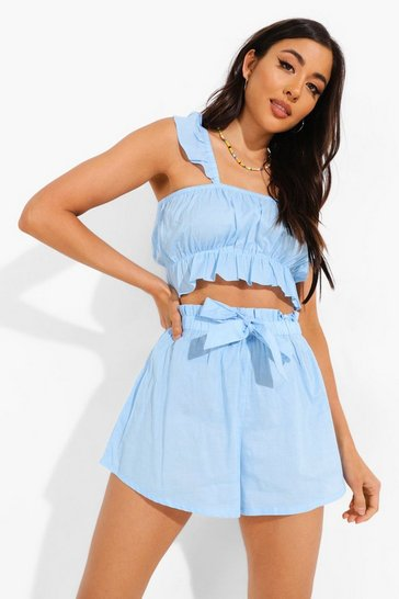 Blue Frill Detail Crop & Short Beach Co-ord
