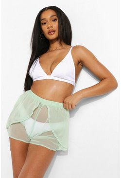 Mint green Chiffon Beach Flippy Shorts