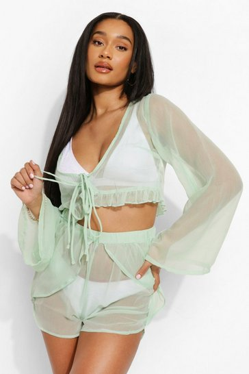 Mint green Chiffon Beach Top With Frill Hem Detail