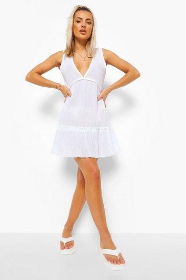 White Crinkle Plunge Beach Dress